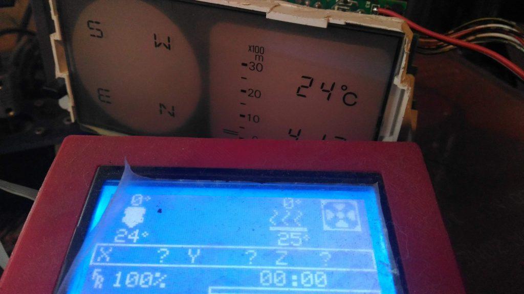Настройка температуры на панели дополнительных приборов при помощи 3Д принтера